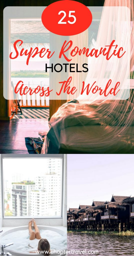 25 travel bloggers share the most romantic hotel they have ever stayed in. In this article you'll find 25 super romantic hotels across the world, some are one of the most romantic hotels in the world. So if you're looking for a romantic getaway, be sure to check out this article and choose a romantic accommodation possility!