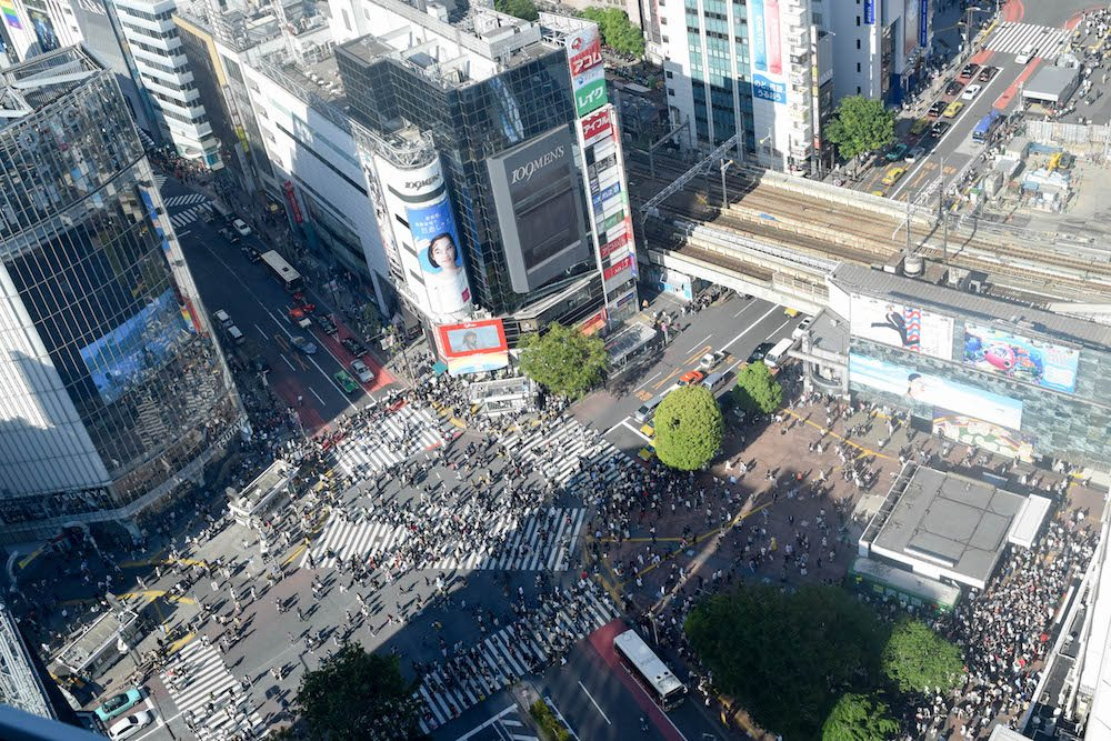 The Shibuya District from above and you can see the busy Shibuya intersection