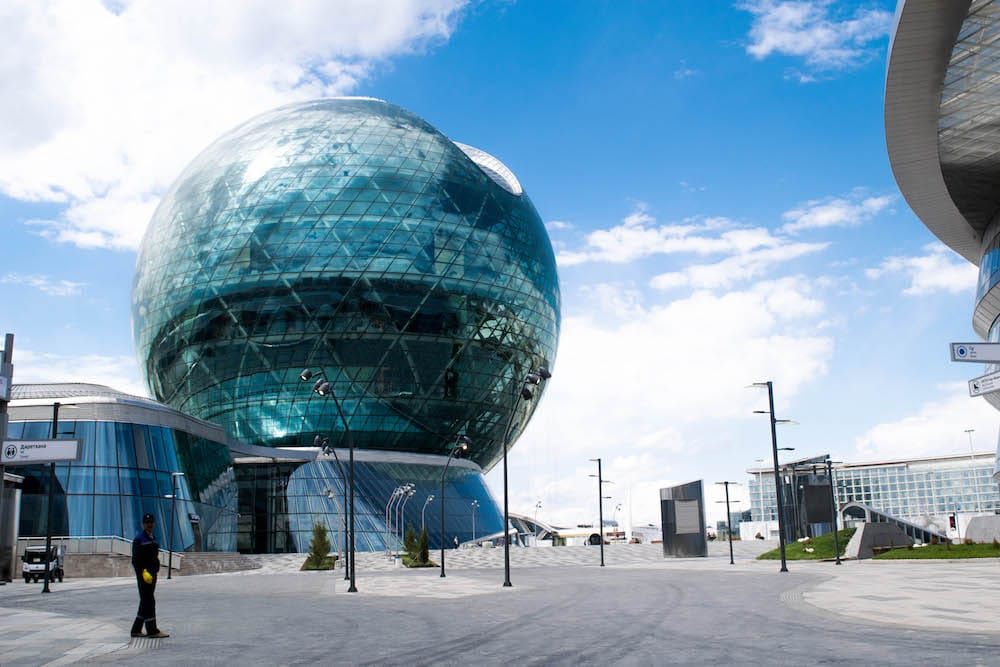 "The 2017 Expo in Astana took place in this big round bowl, which is a unique architectural building in Astana. The Expo 2017 was about the theme Future Energie and had the crucial question crucial question: ""How do we ensure safe and sustainable access to energy for all while reducing CO2 emissions?"""