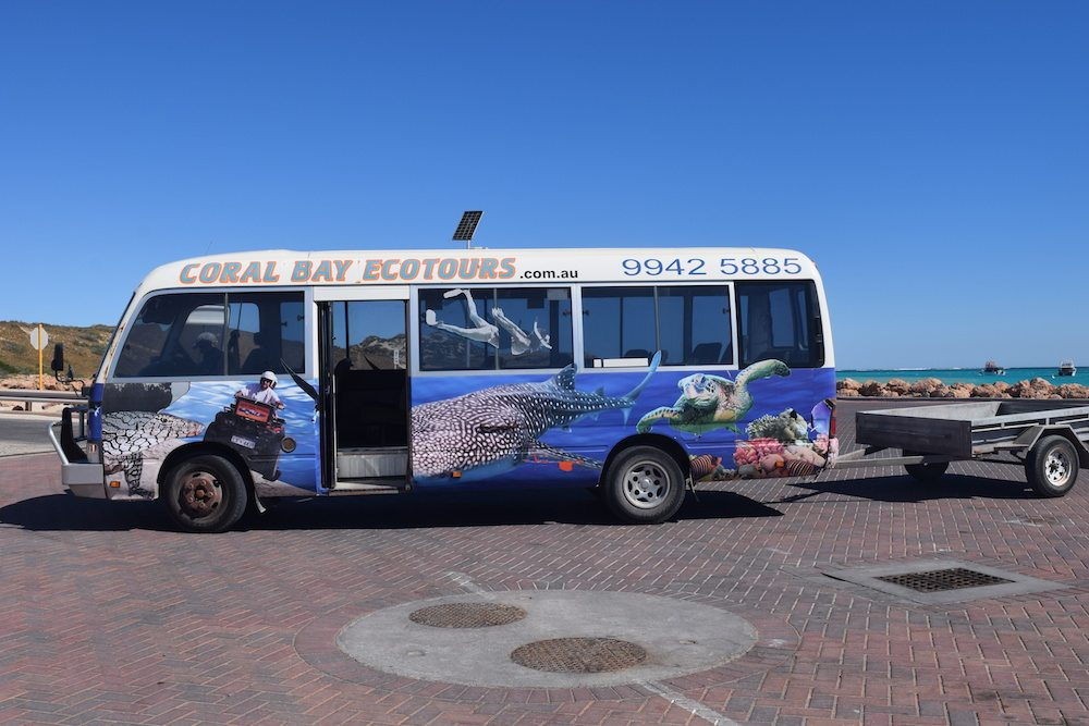 We were picked up by Coral Bay Ecotours with this cool bus!