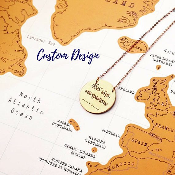 travel inspired jewellery, travel inspired jewelry, gifts for her, perfect necklace for her, travel gifts for her, travel inspired necklace, world pendant, pendant with travel quote, pendant with compass