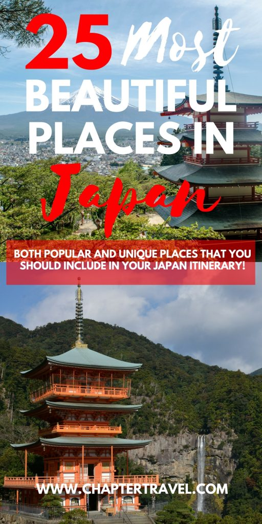 In this post you can find the 25 most beautiful places in Japan that you should include in your itinerary! For instance, the Chureito Pagoda at Mount Fuji, The Jigokudani Snow Monkey Park, Fushimi Inari Shrine in Kyoto, Shirakawa-go, Tsumago, the Blue pond near Hokkaido and more! Check out this post to create your Japan itinerary.