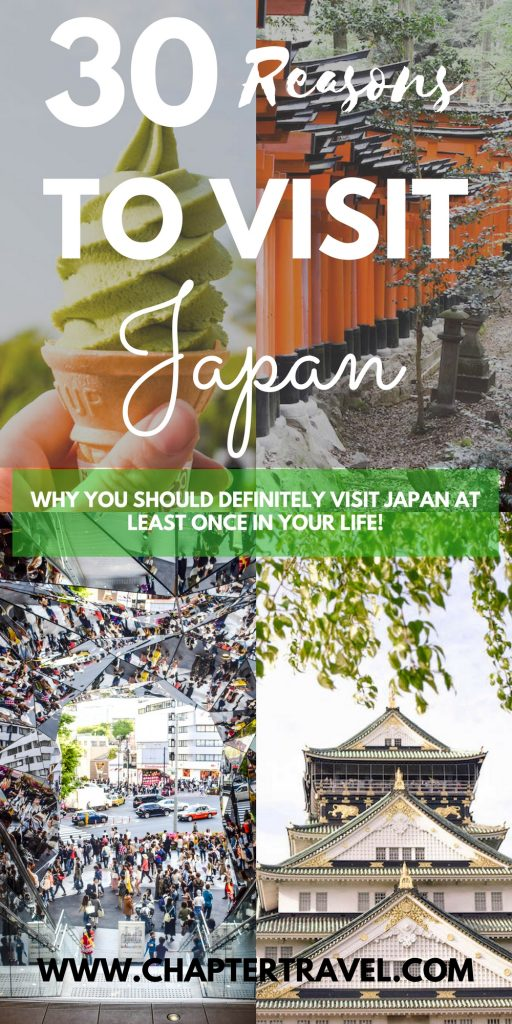 Are you still not sure why you should visit Japan at least once in your life? In this post you can find 30 reasons to visit Japan! It's one of our favourite destinations in Asia. Probably because it has the perfect mix of culture, history and modern comfort. And lets not forget the amazing food they have! Japan is a unique country, and eventhough you might have an image of how it will be, this beautiful country will definitely still surprise you!