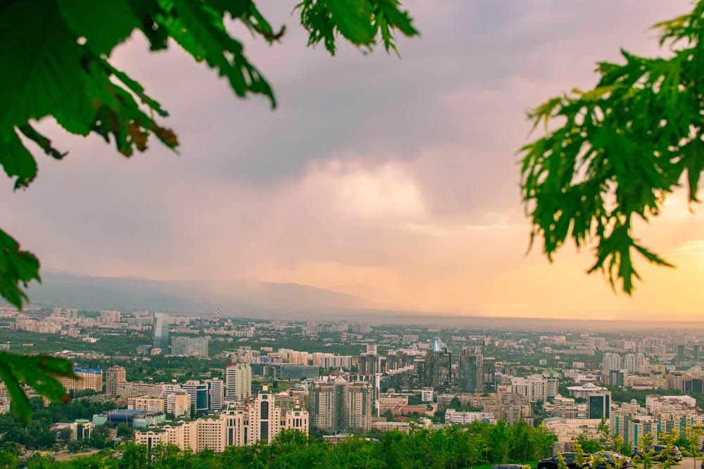 View over Almaty from the Kok-Tobe Hill.