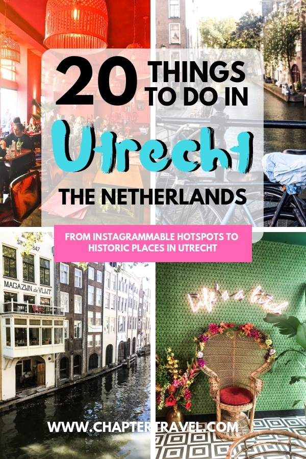 Are you visiting the Netherlands? Then be sure to visit Utrecht! Utrecht is a charming small town with a lot of fun activities. In this post you can find 20 things to do in Utrecht, including Instagrammable hotspots and historical locations #thenetherlands #utrecht